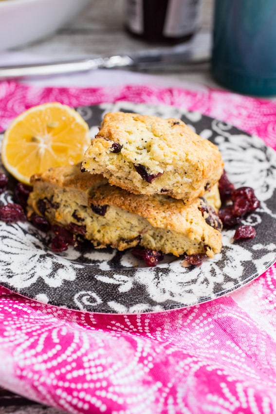 Meyer Lemon Poppyseed Cranberry Scones- The Girl In The Little Red Kitchen