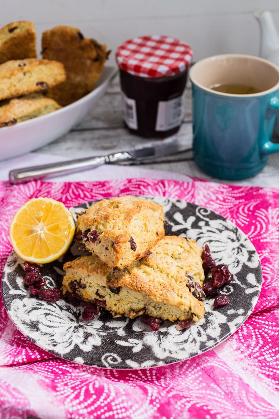 Meyer Lemon Poppyseed Cranberry Scones | girlinthelittleredkitchen.com
