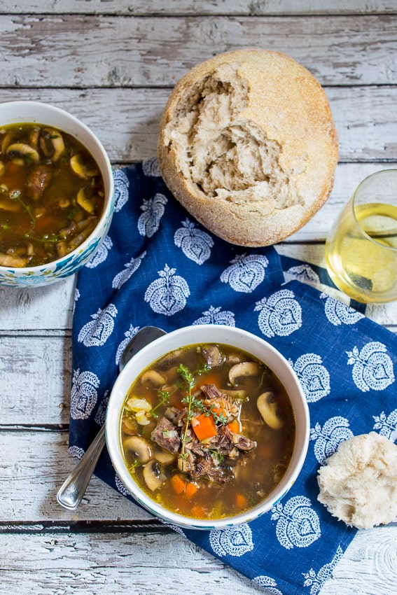 Mushroom and Farro Soup from The Girl In The Little Red Kitchen