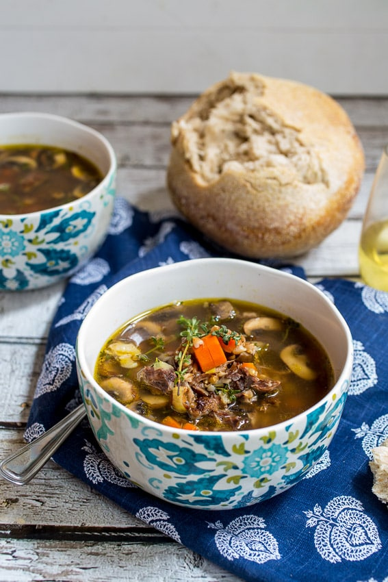 Mushroom and Farro Soup | girlinthelittleredkitchen.com