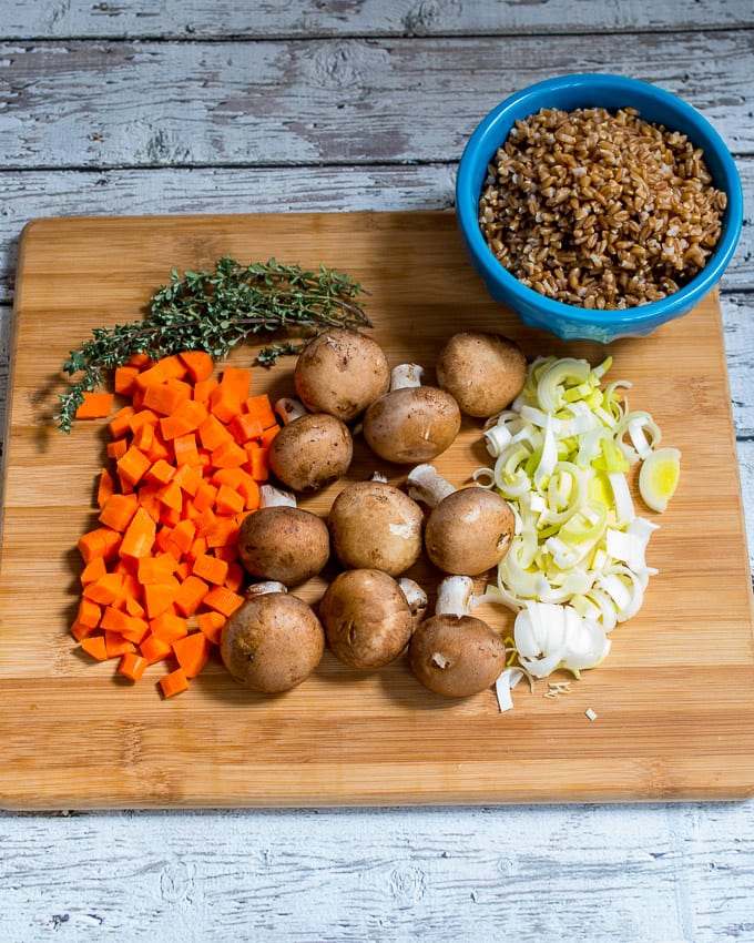 Mushroom and Farro Soup Mise en Place | girlinthelittleredkitchen.com