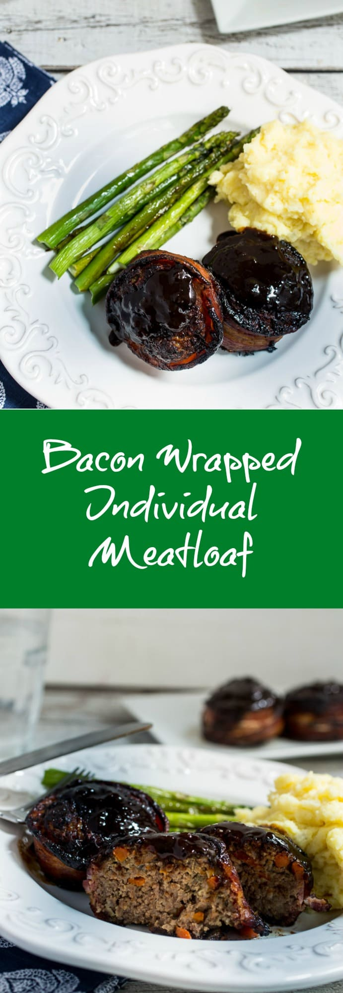 Bacon Wrapped Individual Meatloaf | girlinthelittleredkitchen.com