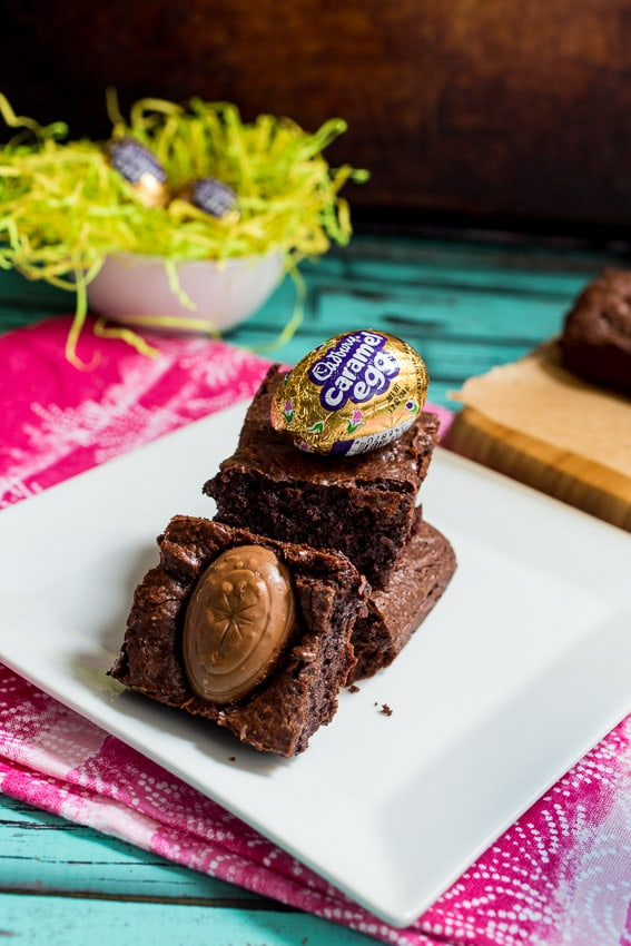 Cadbury Caramel Egg Brownie | girlinthelittleredkitchen.com