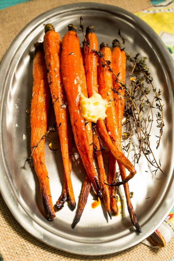 Hot Honey Thyme Roasted Carrots from The Girl In The Little Red Kitchen