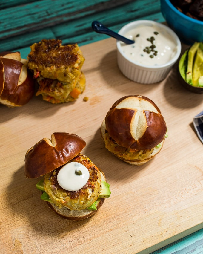 Avocado Crab Cake Sliders from The Girl In The Little Red Kitchen