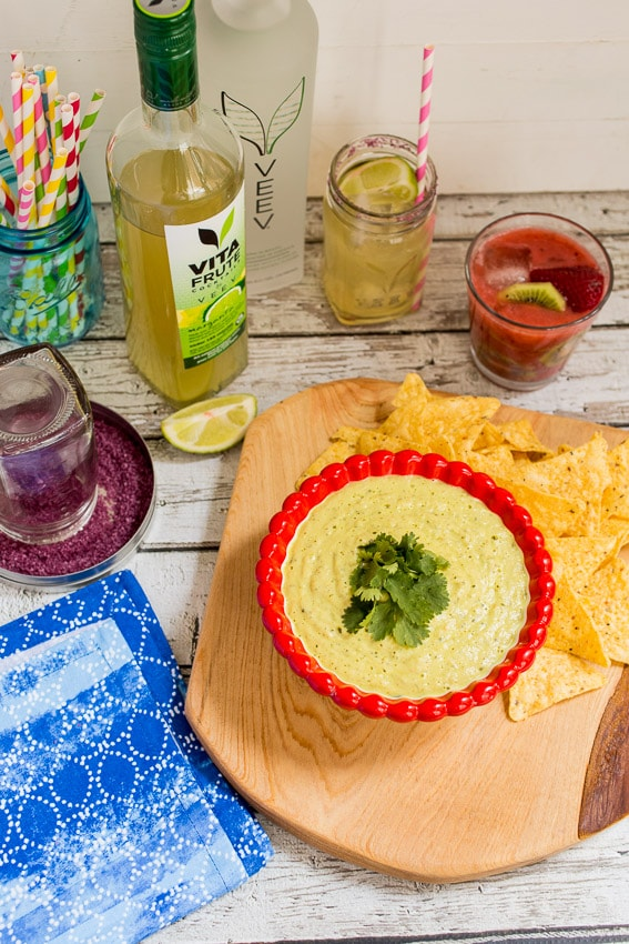 Avocado Tomatillo Dip | girlinthelittleredkitchen.com