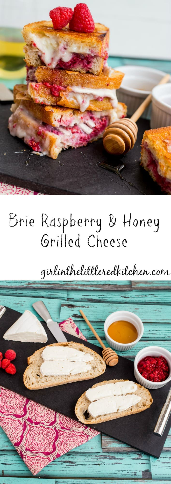 Brie Raspberry and Honey Grilled Cheese | girlinthelittleredkitchen