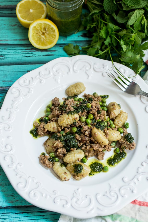 Gnocchi with Lamb, Peas and Pesto from The Girl In The Little Red Kitchen