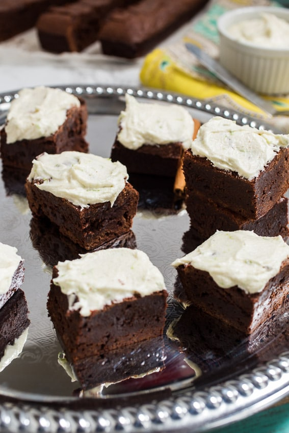 Mexican Chocolate Brownies with Tequila Lime Buttercream | girlinthelittleredkitchen.com