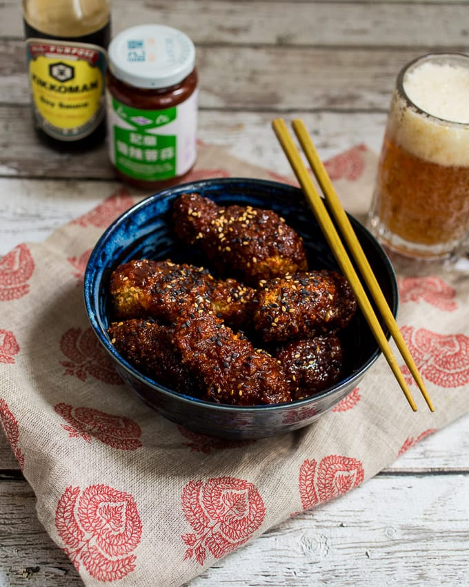 Oven Baked Korean Fried Chicken | girlinthelittleredkitchen.com