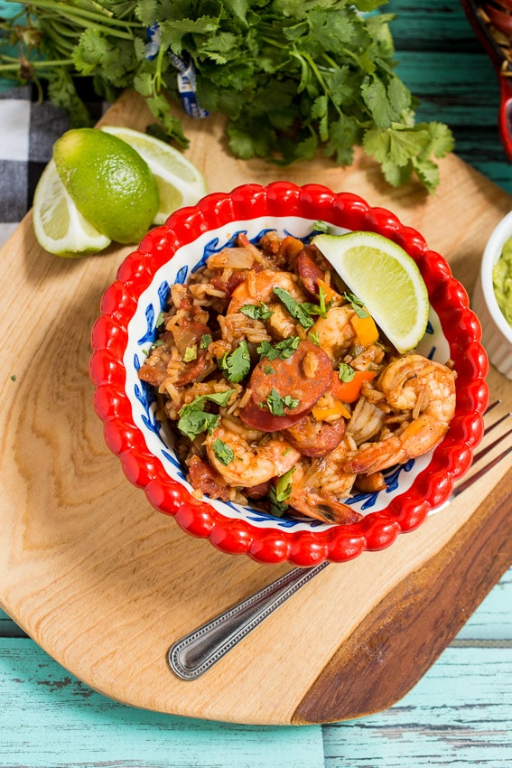 Shrimp and Chorizo Jambalaya from The Girl In The Little Red Kitchen
