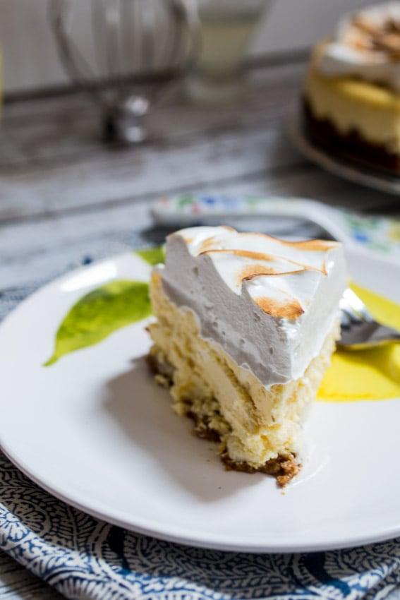Lemon Drop Meringue Cheesecake | grirlinthelittleredkitchen.com