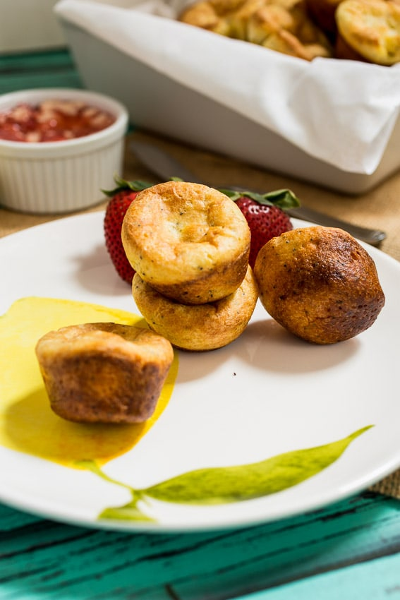 Miniature Lemon Poppy Popovers | girlinthelittleredkitchen.com