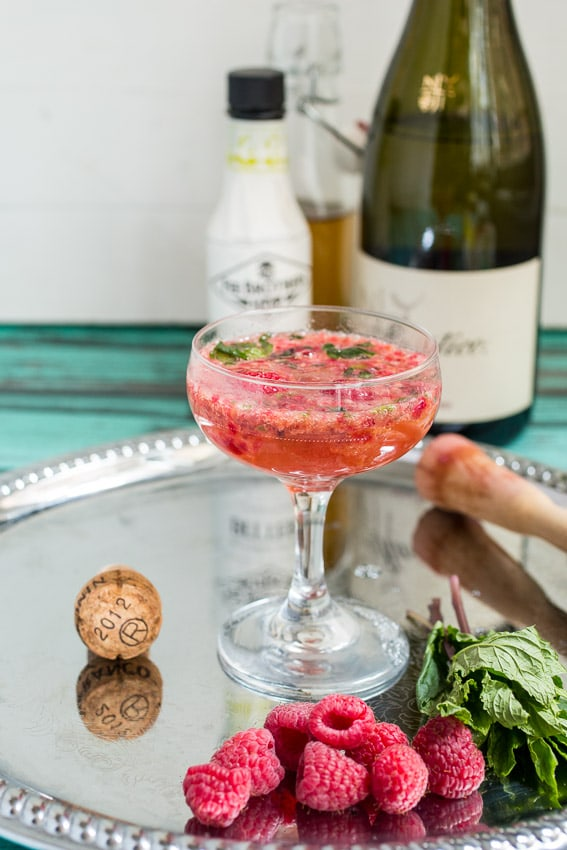 Raspberry Mint Prosecco Cocktail from The Girl In The Little Red Kitchen