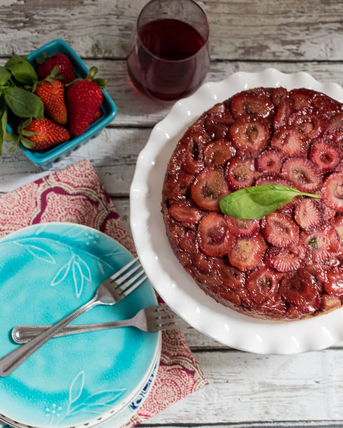 Strawberry Basil Upside Down Cake #SundaySupper #GalloFamily from The Girl In The Little Red Kitchen