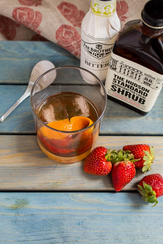 Strawberry Rhubarb Shrub Old Fashioned | girlinthelittleredkitchen.com