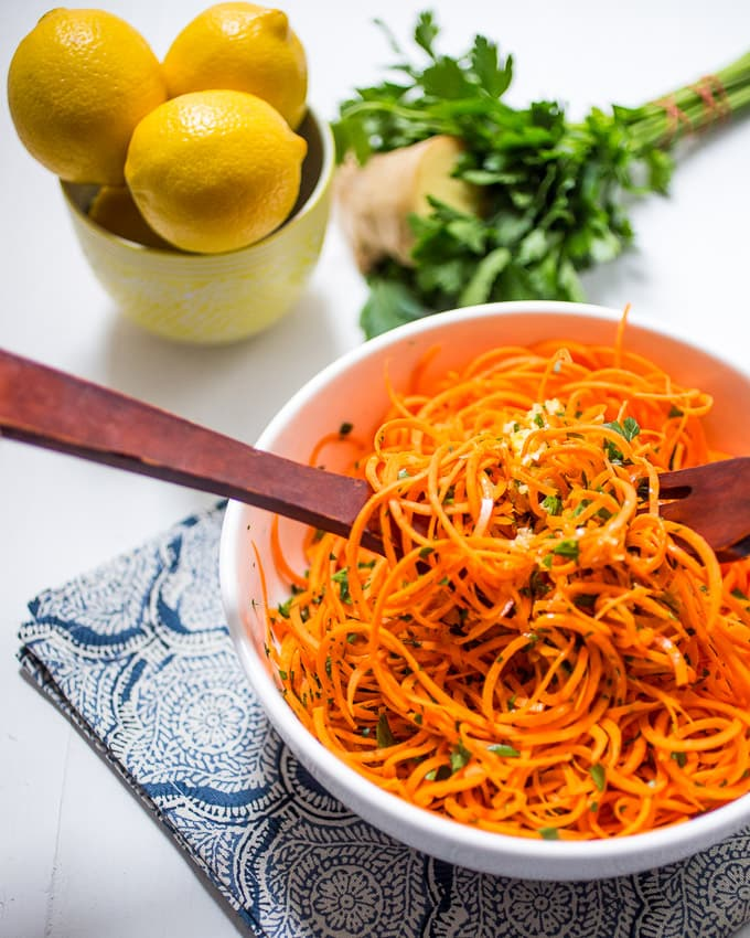 Spiralized Carrot Salad with Lemon Ginger Dressing from The Girl In the Little Red Kitchen