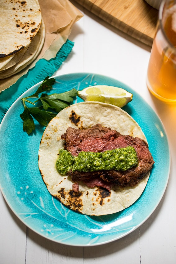 Beer Marinated Ancho Chili Spiced Lamb | girlinthelittleredkitchen.com