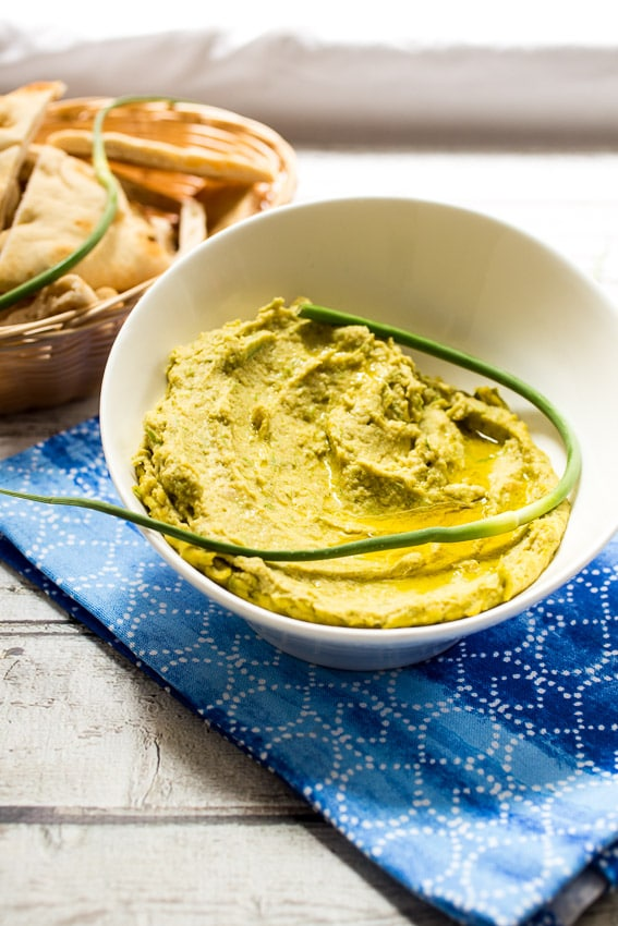 Garlic Scape Hummus | girlinthelittleredkitchen.com