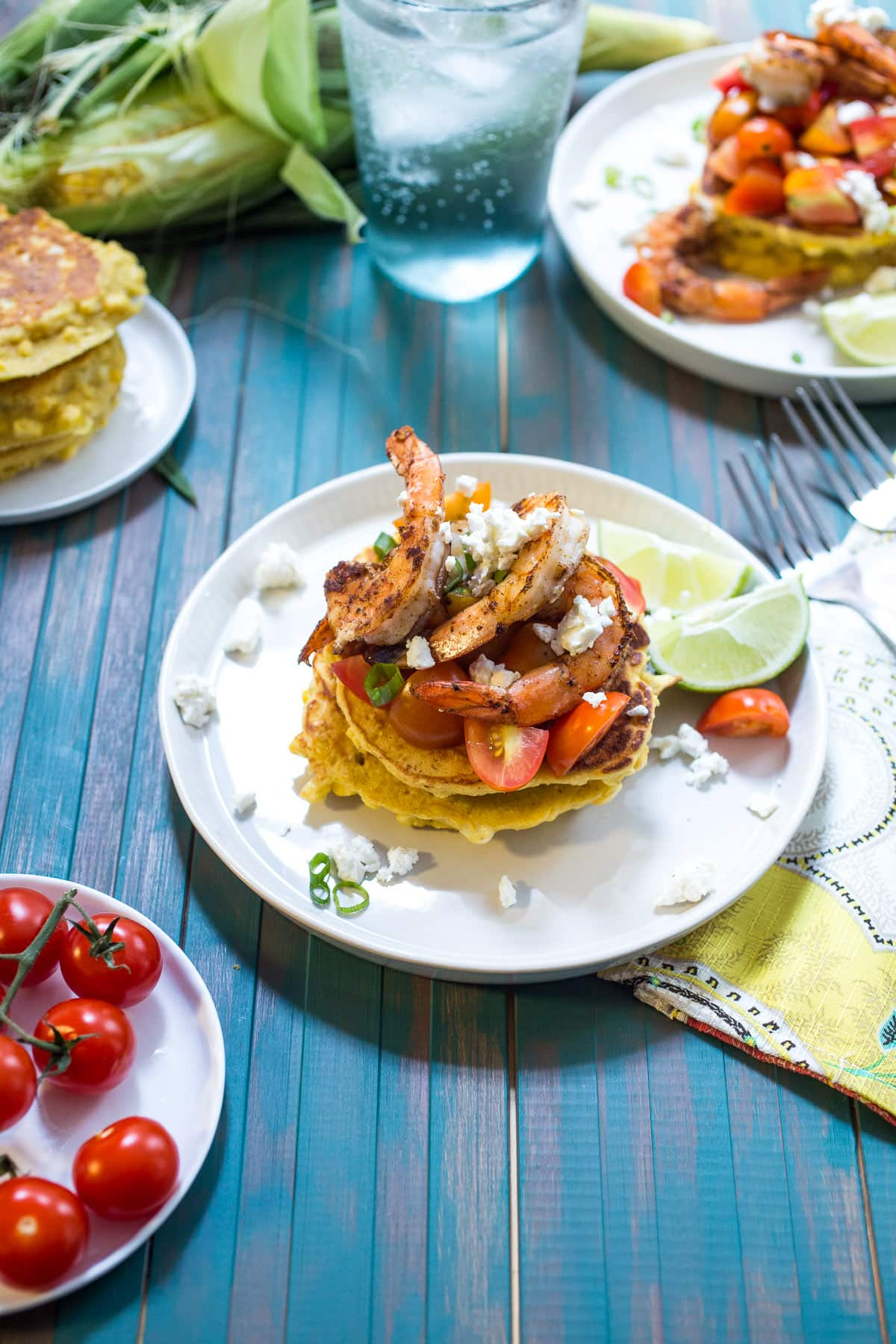 Corn Cakes with Shrimp and Tomatoes | The Girl in the Little Red ...
