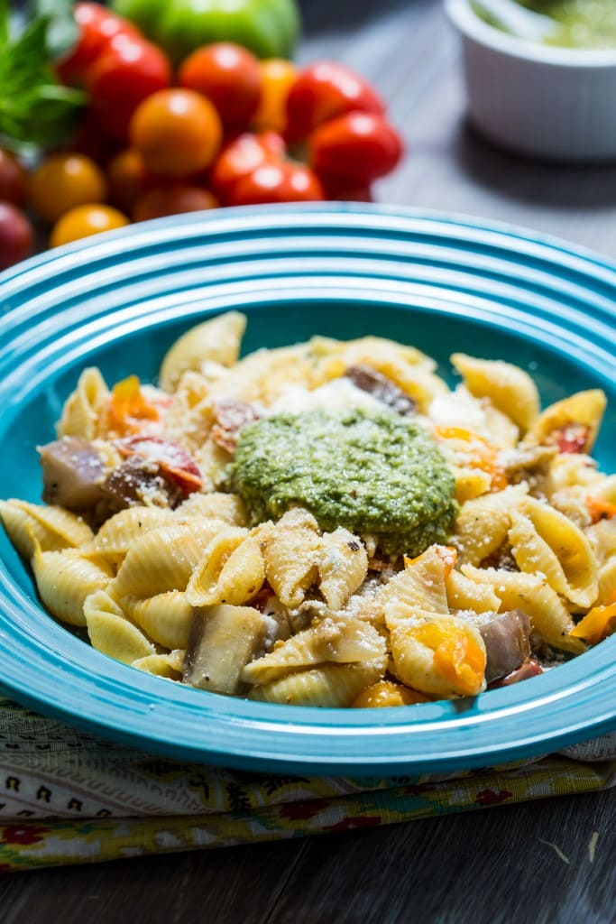 Eggplant Parmesan Pasta | girlinthelittleredkitchen.com