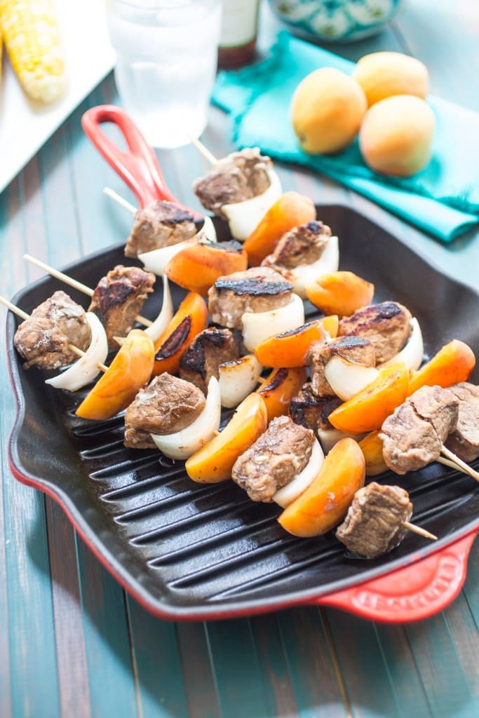 Pork and Apricot Kebobs from The Girl In The Little Red Kitchen