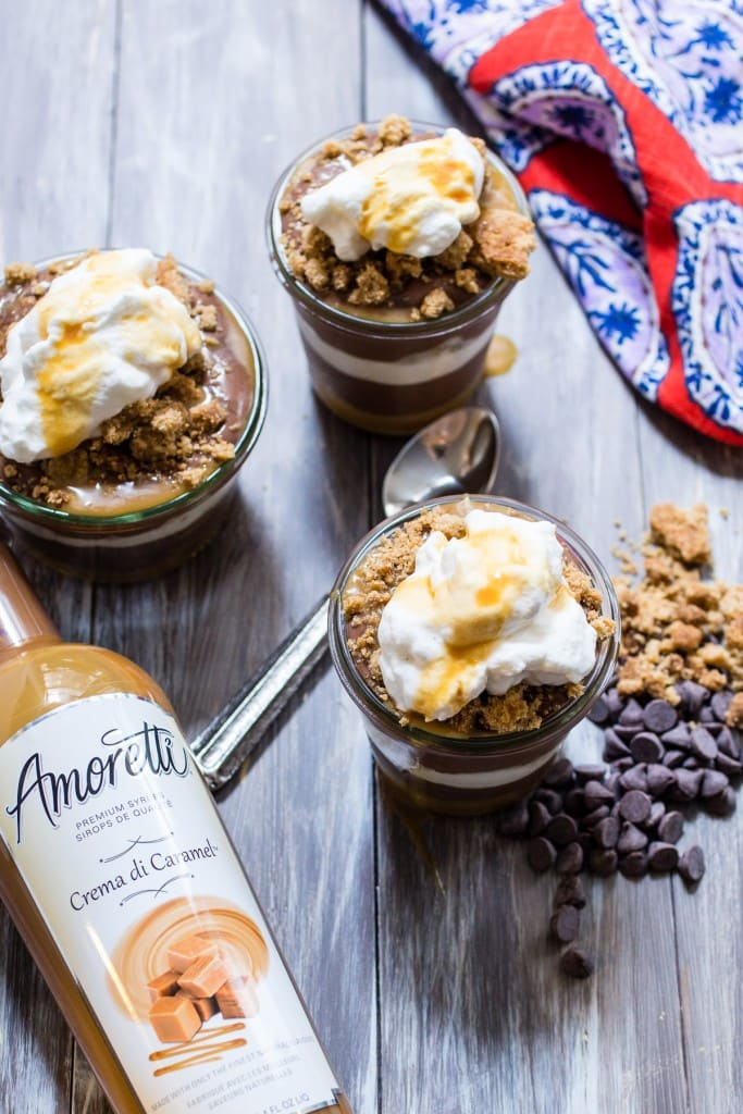Chocolate Caramel Pudding Parfaits | girlinthelittleredkitchen.com