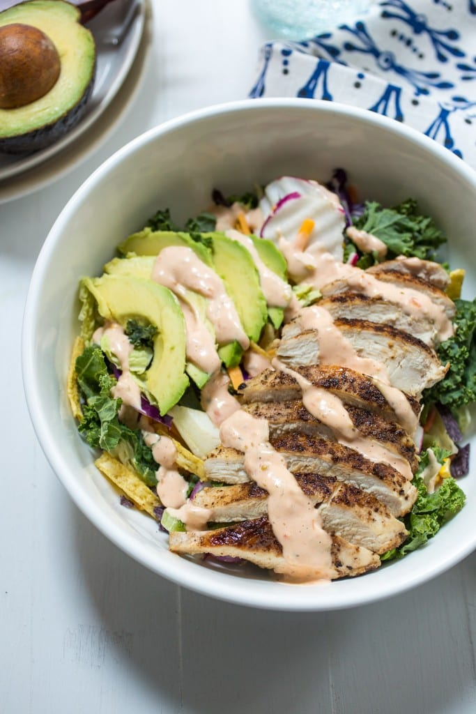 Spicy Southwest Chicken Avocado Salad  from The Girl In The Little Red Kitchen| Lunch comes together in a pinch  when you prep the chicken in advance.