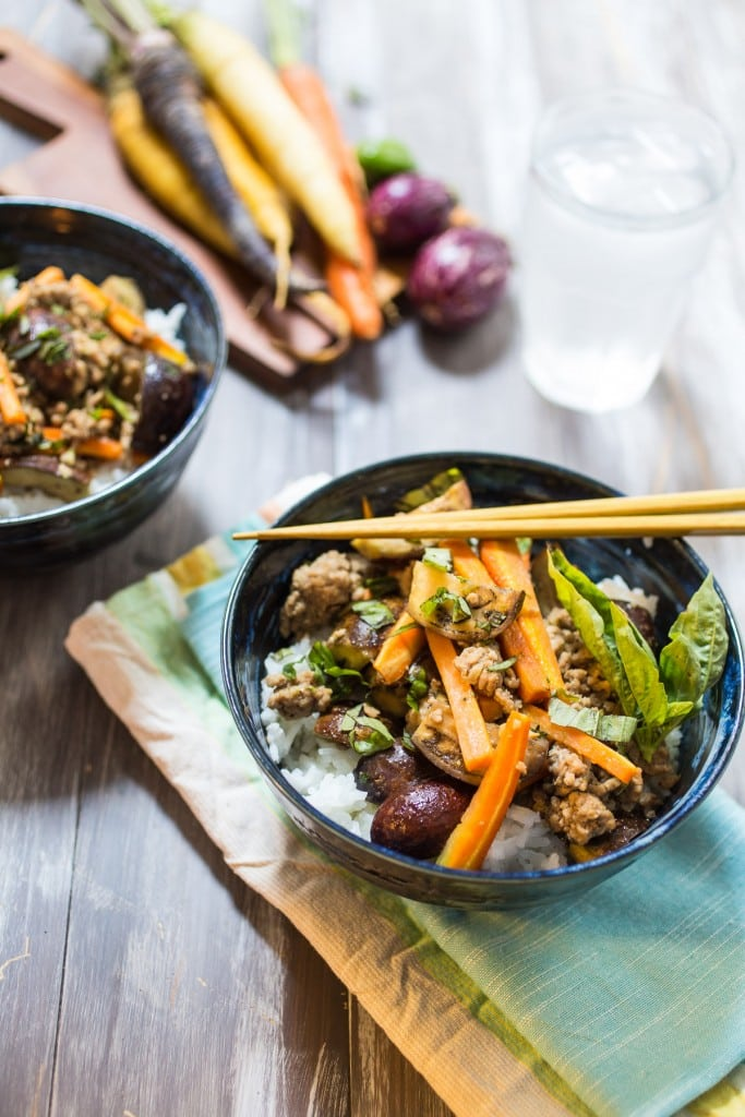 Thai Pork and Eggplant Rice Bowl | girlinthelittleredkitchen.com