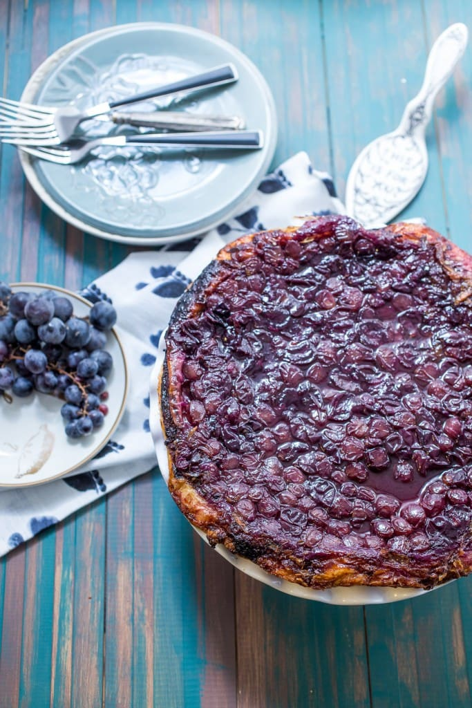 Concord Grape Tarte Tatin from The Girl In The Little Red Kitchen | All it takes is 4 simple ingredients to bake up this shop stopping aromatic dessert.