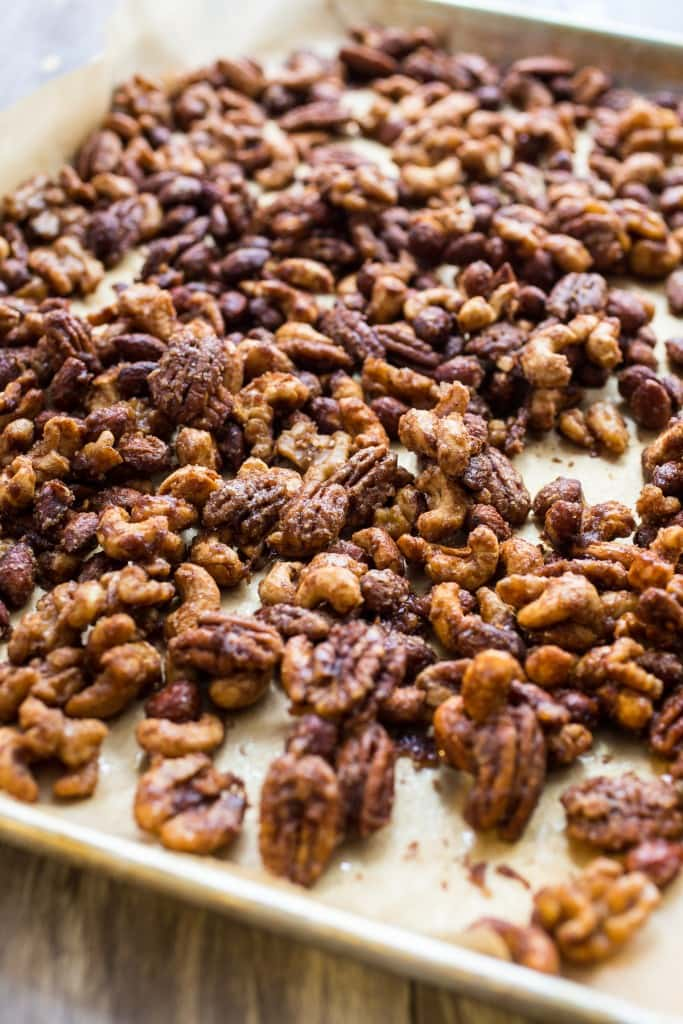 Pumpkin Spice Candied Nuts | girlinthelittleredkitchen.com