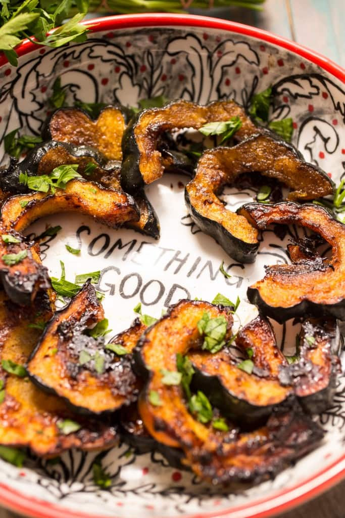 Vanilla Cardamom Roasted Acorn Squash from The Girl In The Little Red Kitchen