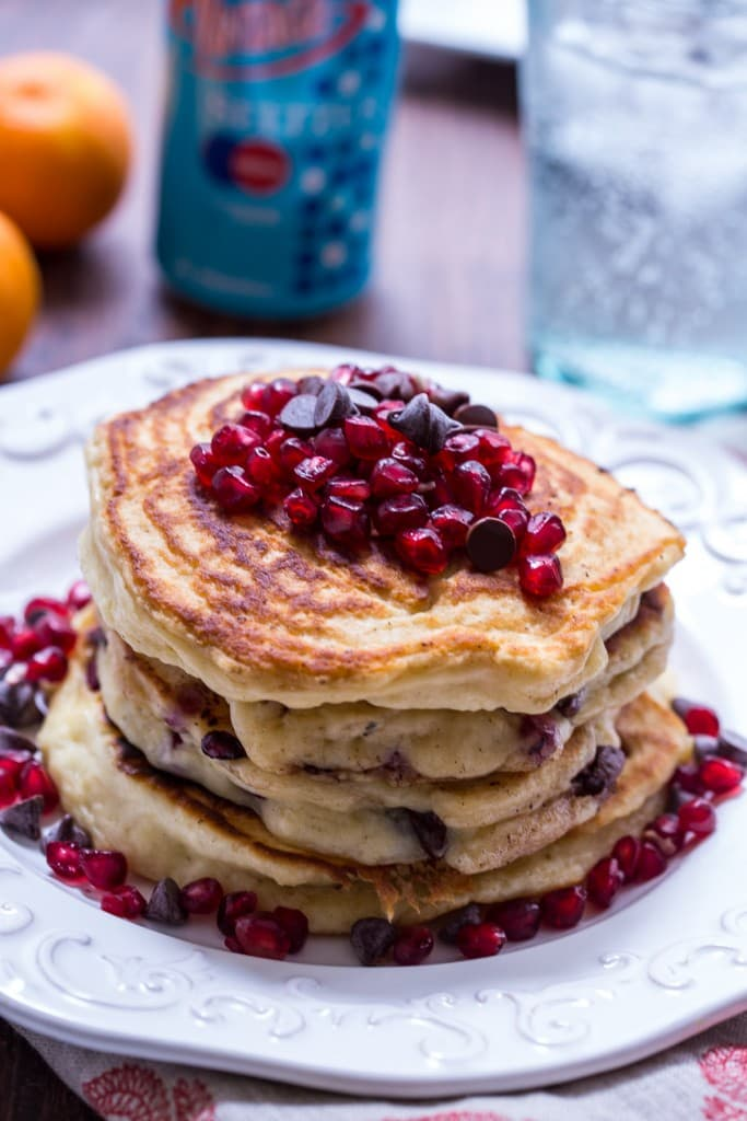Chocolate Chip Pomegranate Pancakes | girlinthelittleredkitchen.com