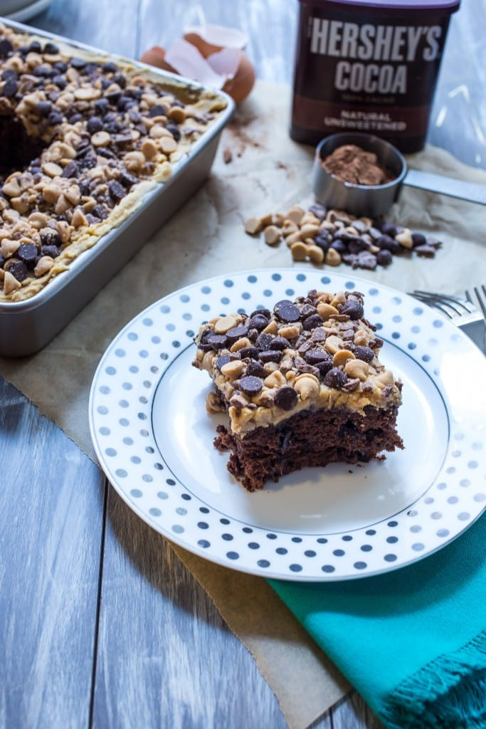 Chocolate Peanut Butter Crunch Cake from The Girl In The Little Red Kitchen   Easy layered chocolate peanut butter snack cake with a crunchy top!