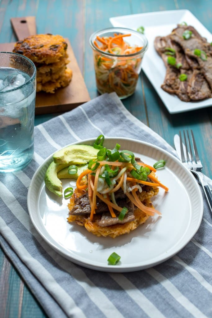 Kimchi Rice Cakes with Beef Bulgogi from The Girl In The Little Red Kitchen | The best use for leftover rice! Turn it into an entirely new dinner with crispy rice cakes!