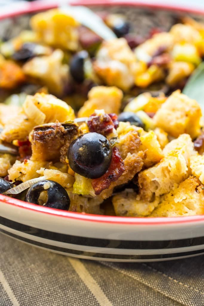 Sourdough Butternut Squash Olive Stuffing | girlinthelittleredkitchen.com