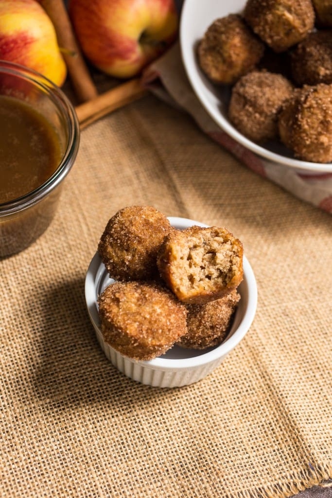 Apple Cider Donut Holes with Hot Buttered Rum Dipping Sauce | girlinthelittleredkitchen.com