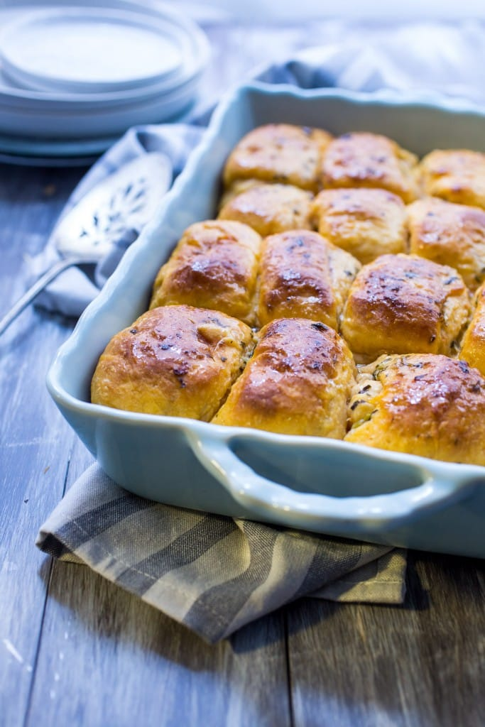Sweet Potato Herb Parker House Rolls | girlinthelittleredkitchen.com