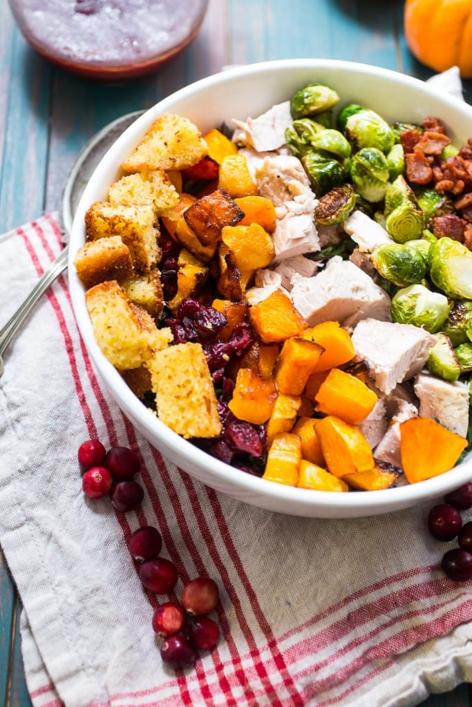 Thanksgiving Cobb Salad from The Girl In The Little Red Kitchen | The best use for Thanksgiving leftovers! Toss it all together in this fall inspired cobb salad!