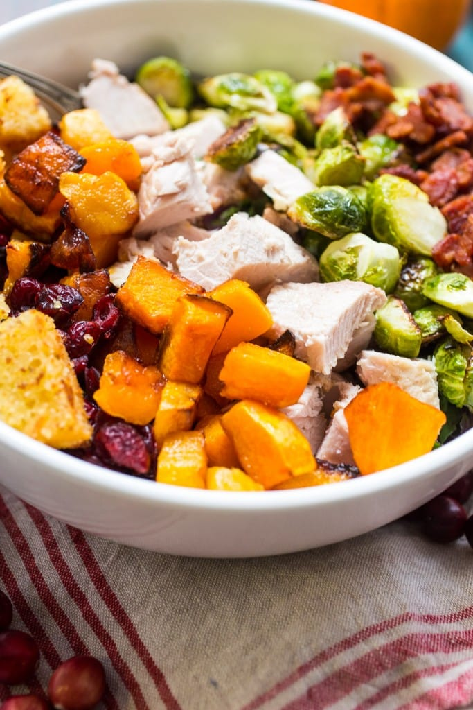 Thanksgiving Cobb Salad | girlinthelittleredkitchen.com