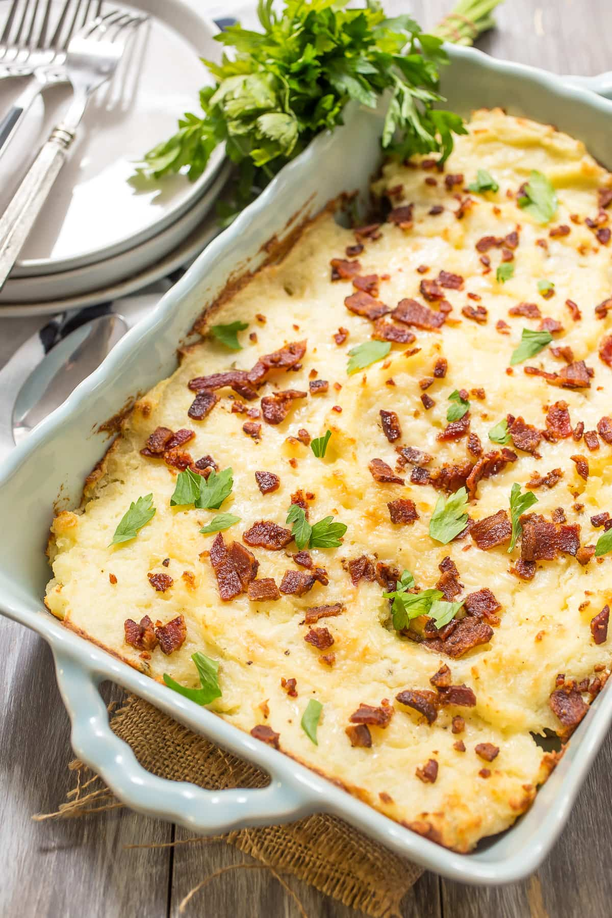 Twice Baked Potato Casserole The Girl In The Little Red Kitchen
