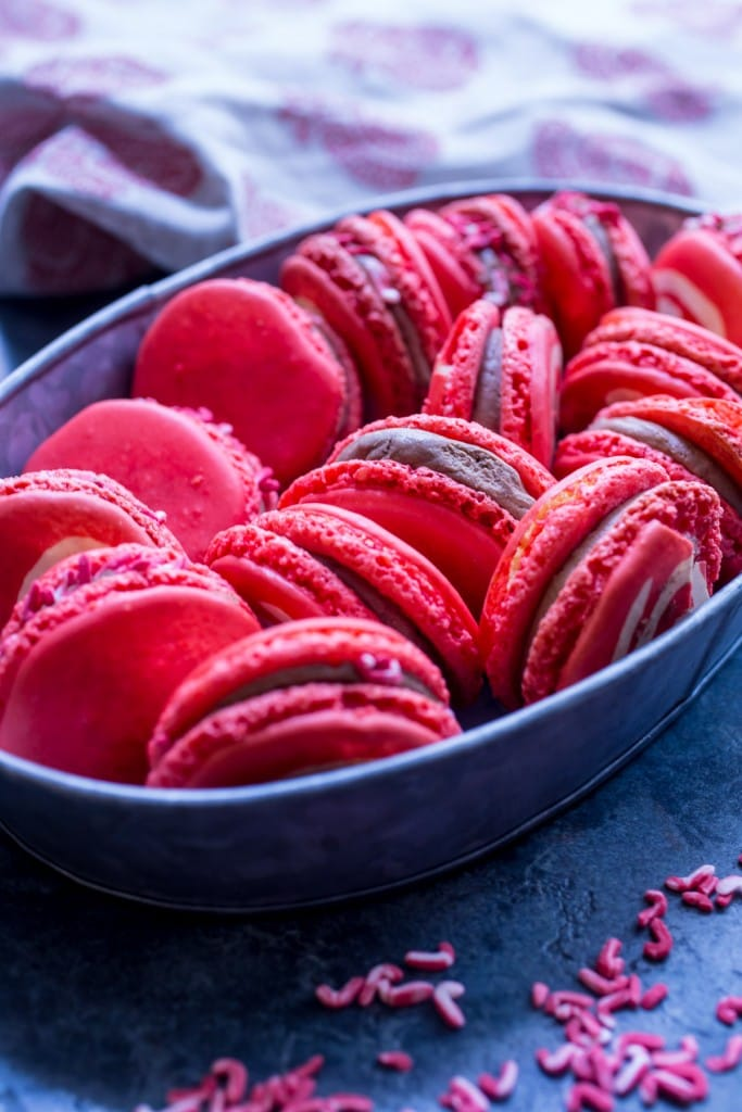 Chocolate Peppermint Macarons | girlinthelittleredkitchen.com