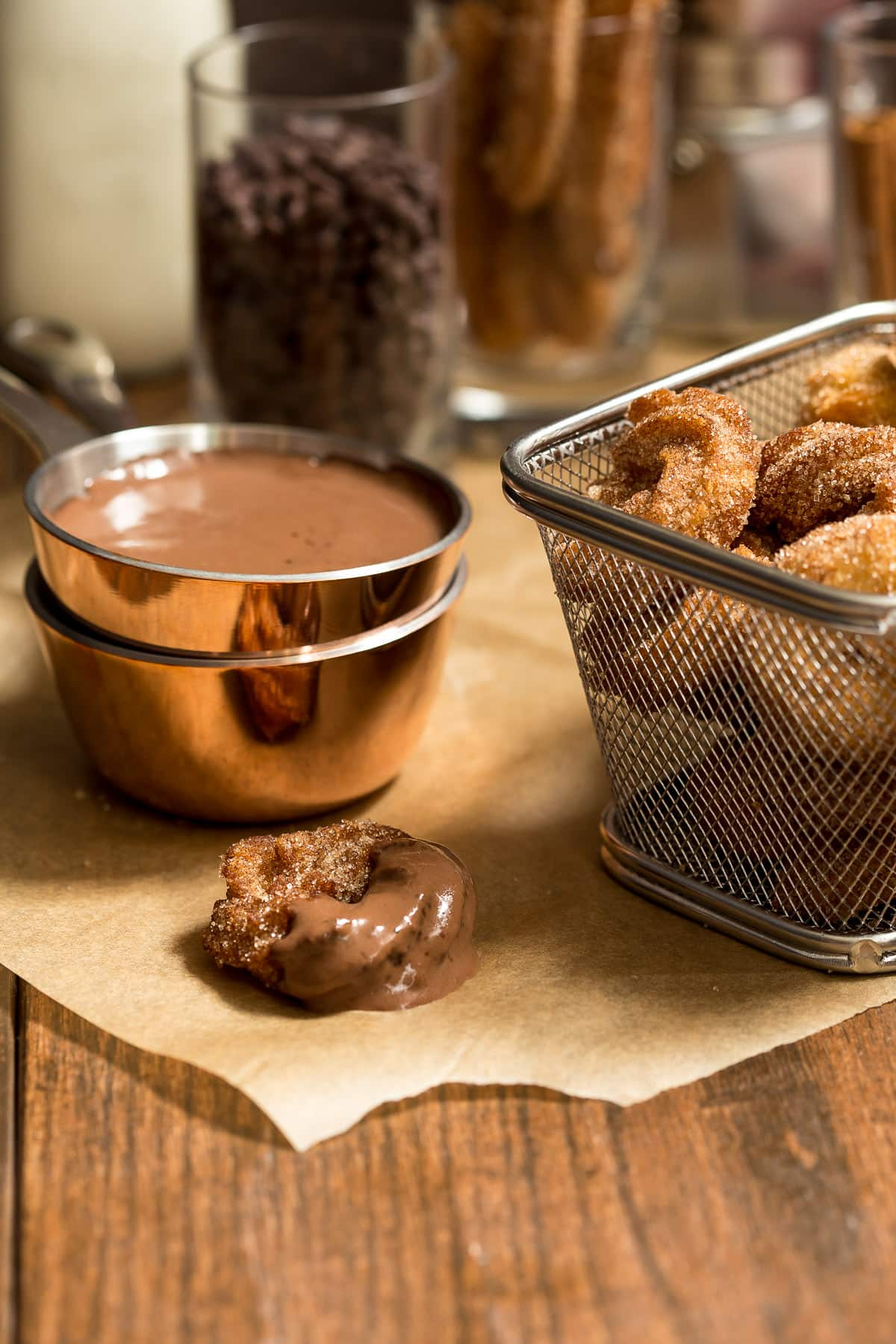 Churro Bites with Spicy Chocolate Sauce   The Girl in the ...