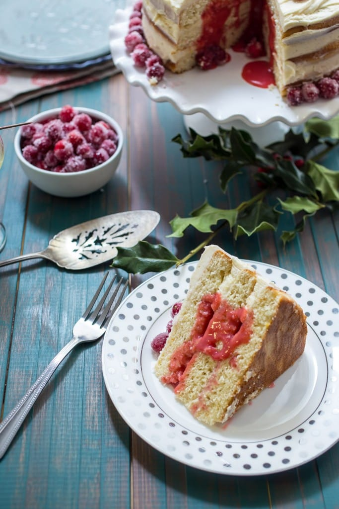 Cranberry Champagne Cake | girlinthelittleredkitchen.com