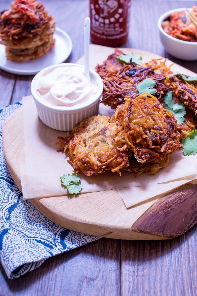 Kimchi Latkes from The Girl In The Little Red Kitchen | Try something new for Chanukah this year with latkes made with chopped up kimchi!