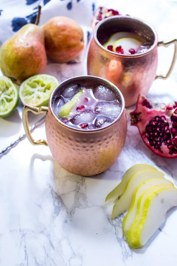 Pear Pomegranate Mule from The Girl In The Little Red Kitchen