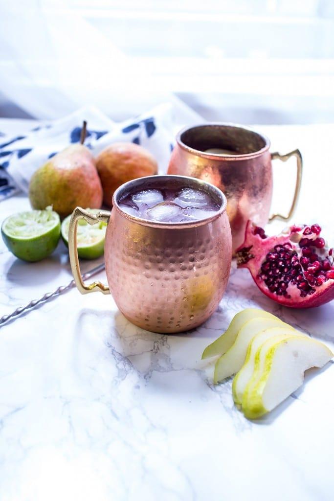 Pear Pomegranate Mule | girlinthelittleredkitchen.com