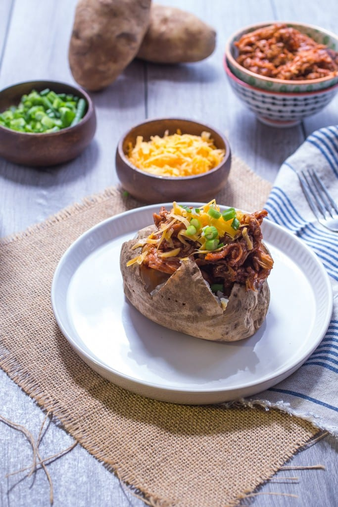 BBQ Chicken Stuffed Potatoes from The Girl In The Little Red Kitchen