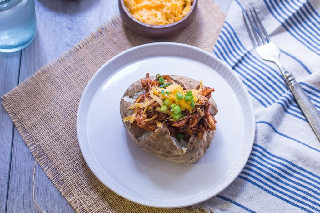 Barbecue Chicken Stuffed Baked Potato | girlinthelittleredkitchen.com