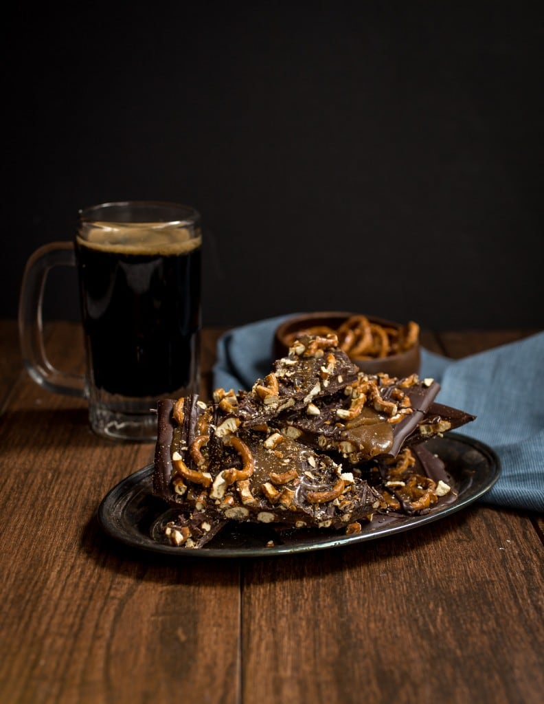 Beer Caramel and Pretzel Chocolate Bark | girlinthelittleredkitchen.com